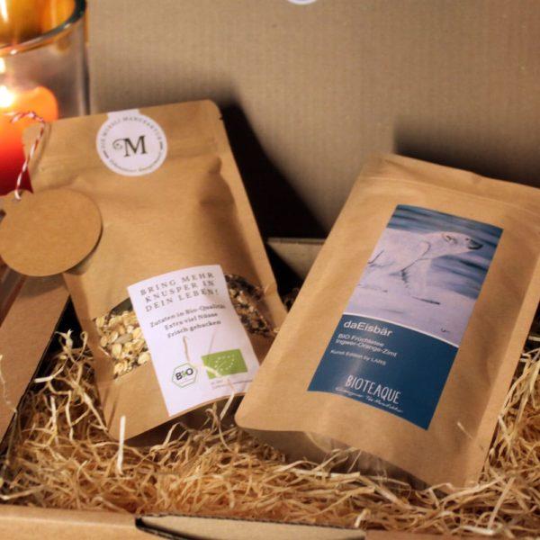 Geschenkpaket daEisbär Tee und 250g Muesli