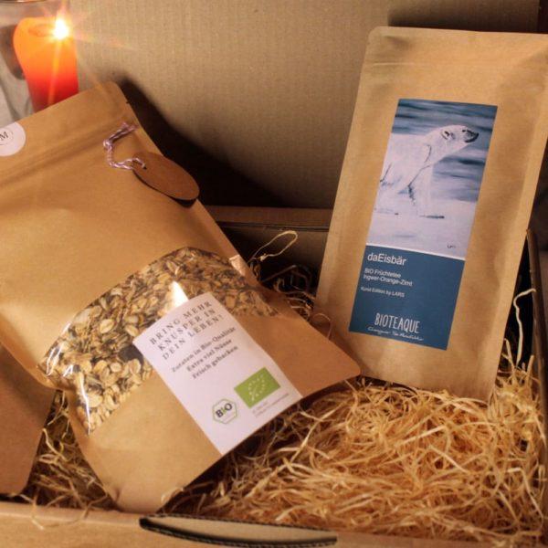 Geschenkpaket daEisbär Tee und 500g Muesli